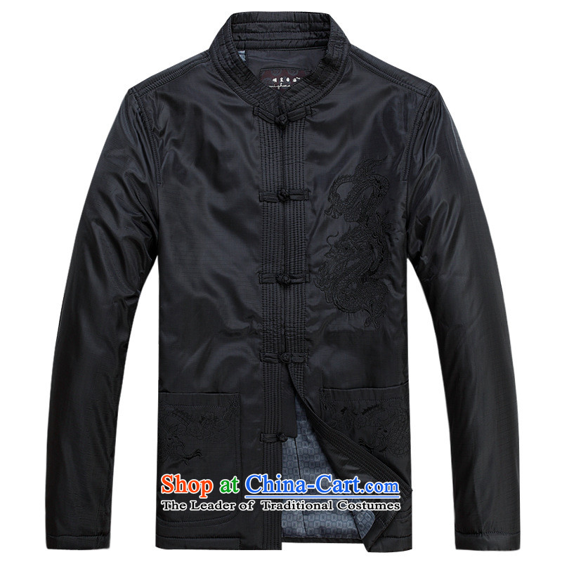 Older persons in the Tang dynasty and long-sleeved shirt autumn and winter men Tang jacket leisure jacket black燲XSTOXL_