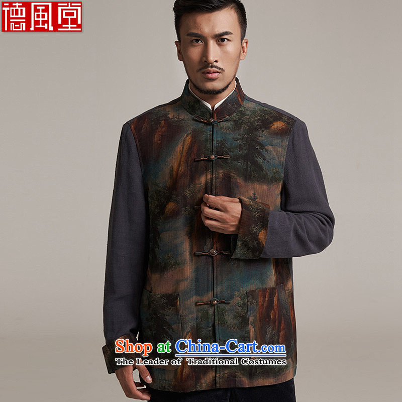 Fudo de聽fall_winter day video 2015 new products silk men Tang dynasty China wind men robe older leisure jacket warm high-end original picture color聽M_44