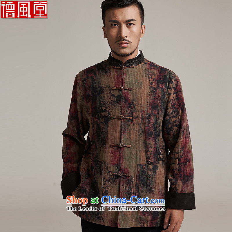 Fudo days que de聽2015 autumn and winter new products men Tang dynasty China wind men robe older leisure jacket warm high-end original color聽2XL_50
