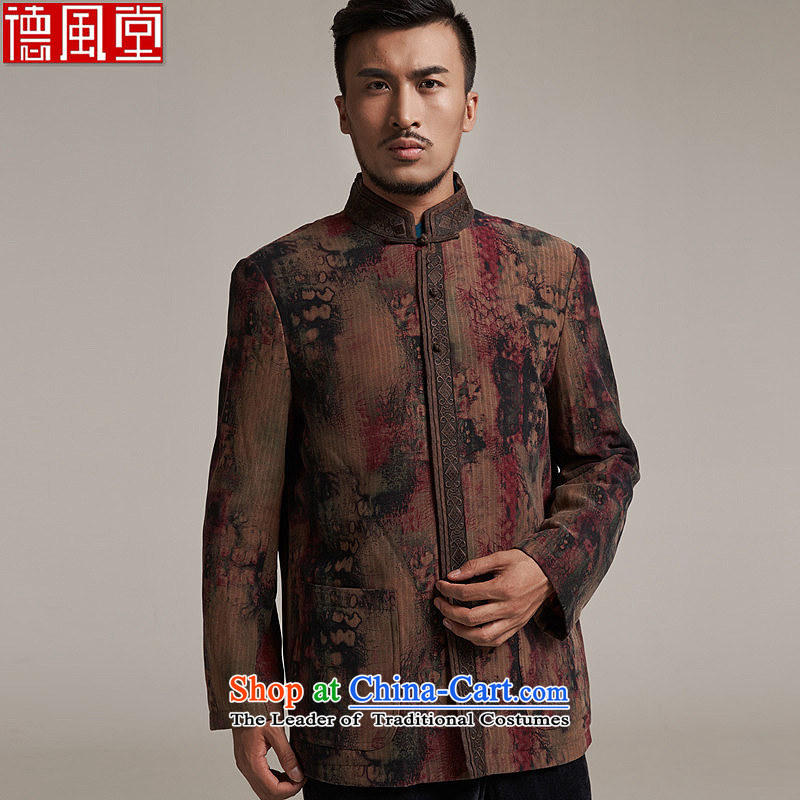 Fudo days the cardinal de聽2015 autumn and winter new products men Tang dynasty China wind men robe older leisure jacket warm high-end original color聽L_46