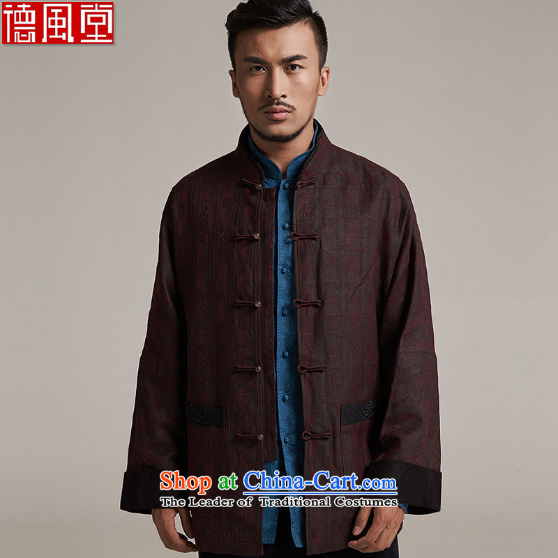 Fudo de爁all_winter day MR NGAN 2015 new products silk men Tang dynasty China wind men's jackets older leisure jacket China wind�L_50 dark red