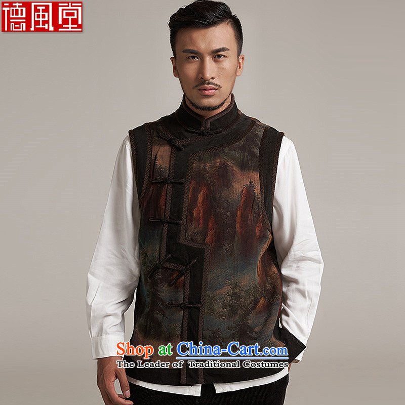 Fudo wise De Xiang Yun yarn upscale male Tang Gown, a leisure in improved shoulder windproof warm China wind燲L_48 Suit