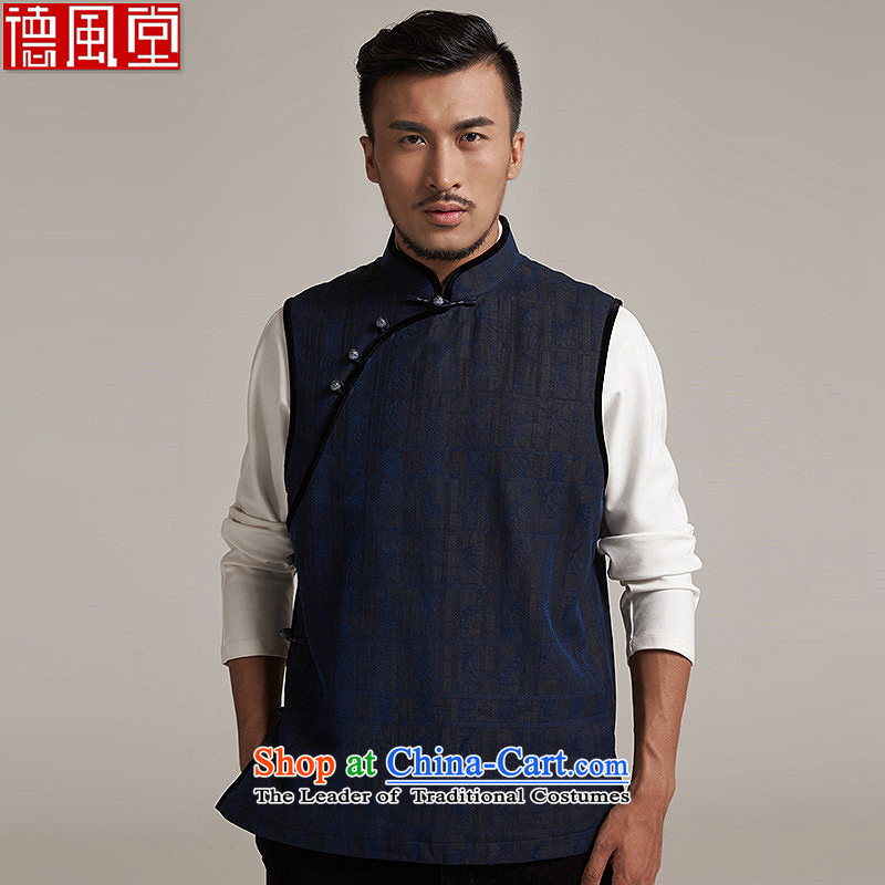 De Sheng-tong Xiang Yun wind yarn upscale male Tang dynasty improvement, a leisure in Sau San shoulder windproof warm blue?2XL/50 China Wind