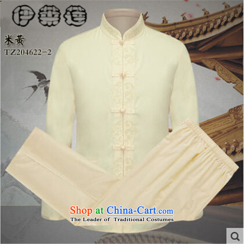 Hirlet Ephraim?015 Chinese wind long-sleeved autumn men Tang dynasty minimalist solid color kit men of older persons in the father festive dress clothes beige?190