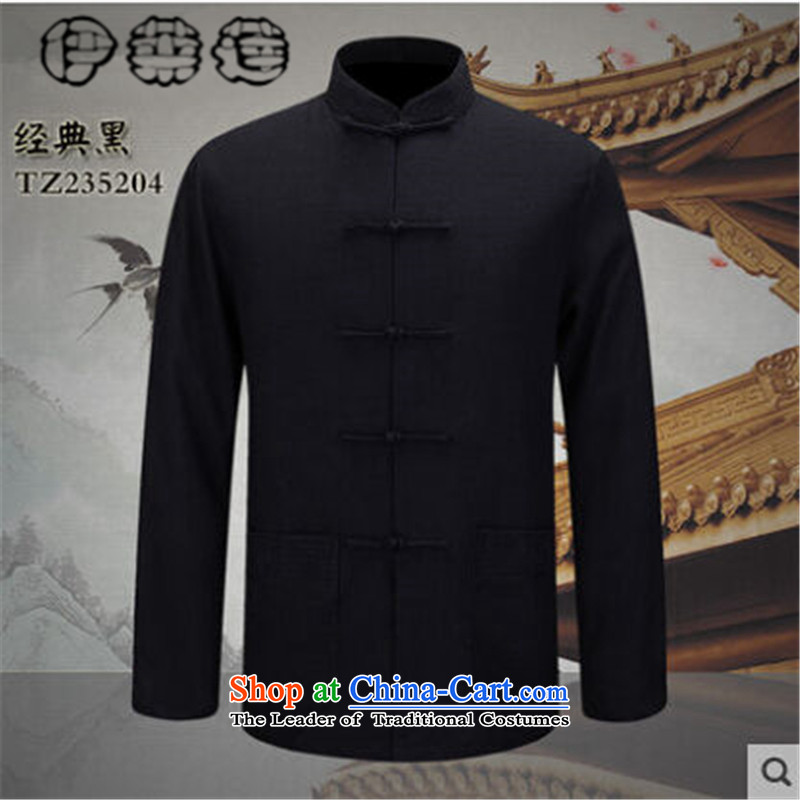 Hirlet Ephraim Fall 2015 new natural cotton linen men Tang Gown of older persons in long-sleeved shirt with Chinese style in the father grandfather casual shirt, Yi Classic Black 180