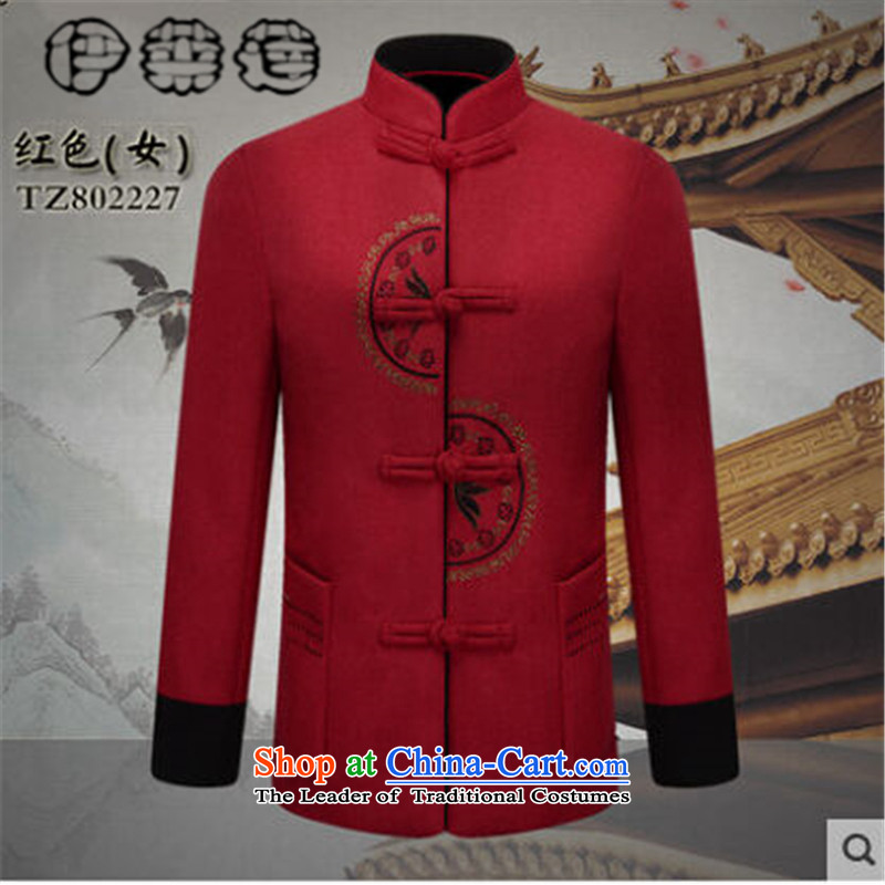 Hirlet Ephraim of autumn and winter 2015 new products for older couples Tang dynasty men wool a grandmother grandfather replacing elderly men and women jacket coat red stamp female M