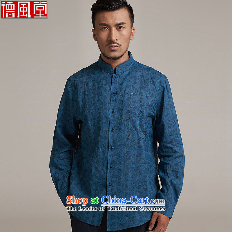 Fudo de Man Cheong Wa Xuan ramie Tang dynasty China wind collar long-sleeved Tang dynasty?2015 new products during the Spring and Autumn Chinese clothing?L/46 blue