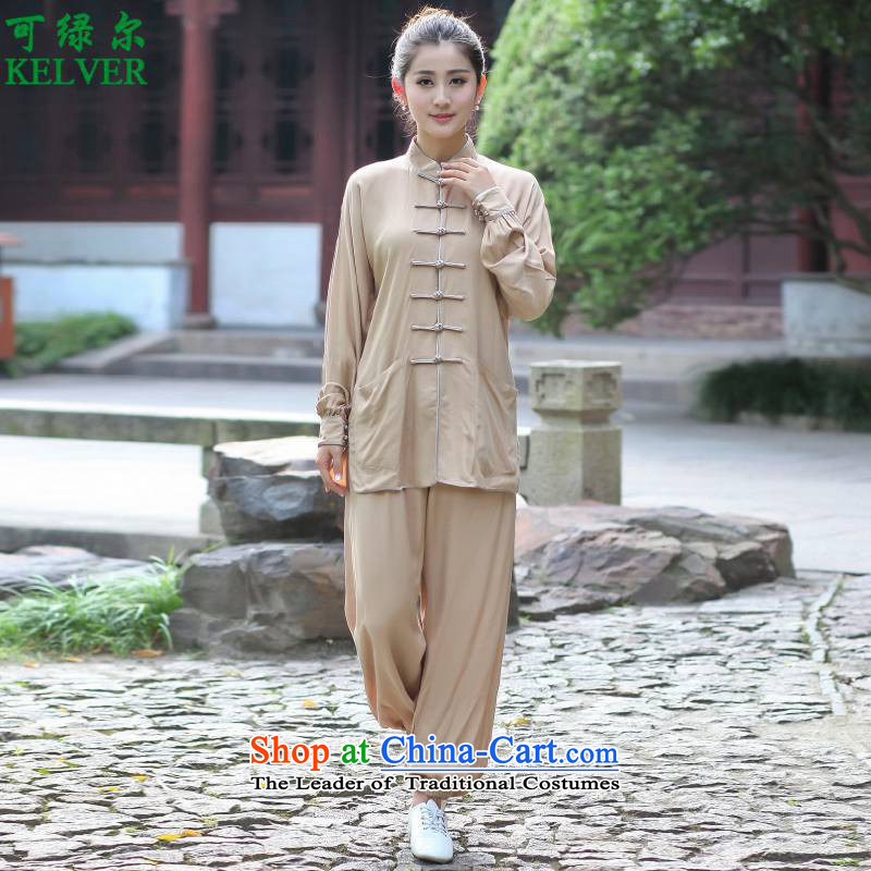 To Green, improvement of ethnic Chinese long-sleeved Men's Mock-Neck Tang dynasty stamp single row detained women Tang Dynasty Package D /2527# 6# XL
