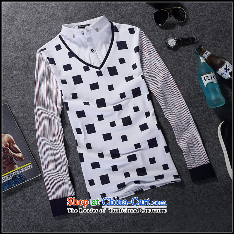 The Secretary for Health related shops _ Fall_Winter Collections of pure cotton long-sleeved T-shirt and leave two men kit shirt collar men casual shirts, T-shirts, forming the male and royal blue燣