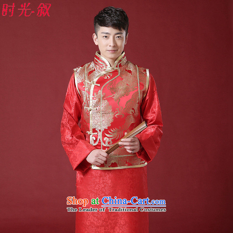 Time Syrian men Soo Wo Service wedding services Red Robe services serving landowners Shao Ye Zhan-style robes Chinese bridegroom dress Soo Wo service men RED聽M