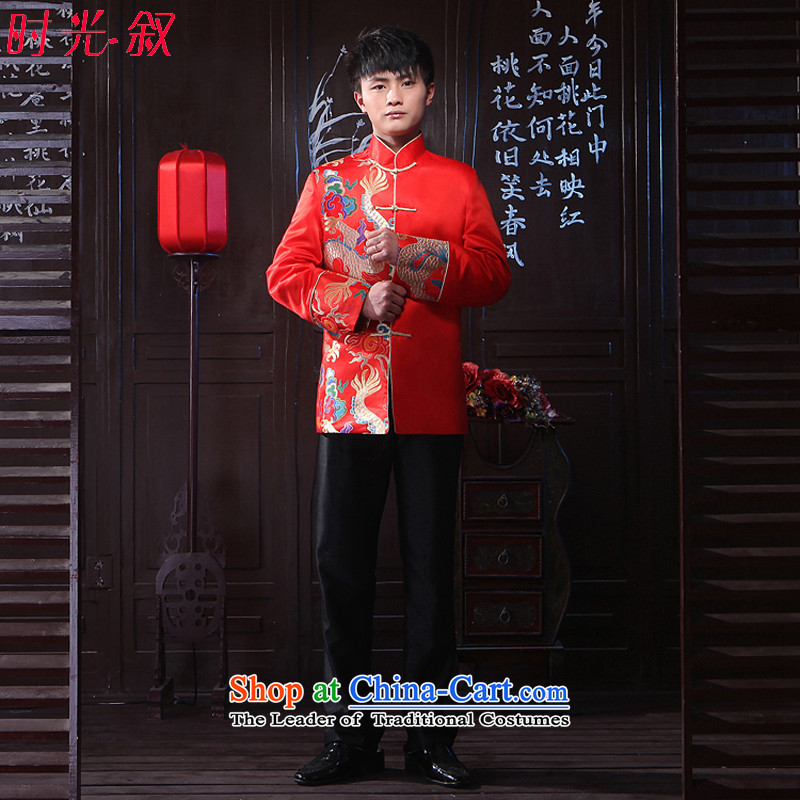 Time the? new 2015 Syria groom men Soo-Wo Service Chinese wedding dress men Chinese tunic improved Tang Dynasty Show Wo Red?XS Costume