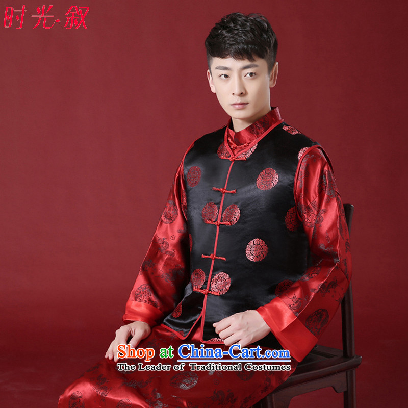 Time Syrian men Soo-Wo Service Chinese men wearing dresses marriage bridegroom bows services Tang dynasty load couples Ancient Costume clothing Chinese tunic RED燤