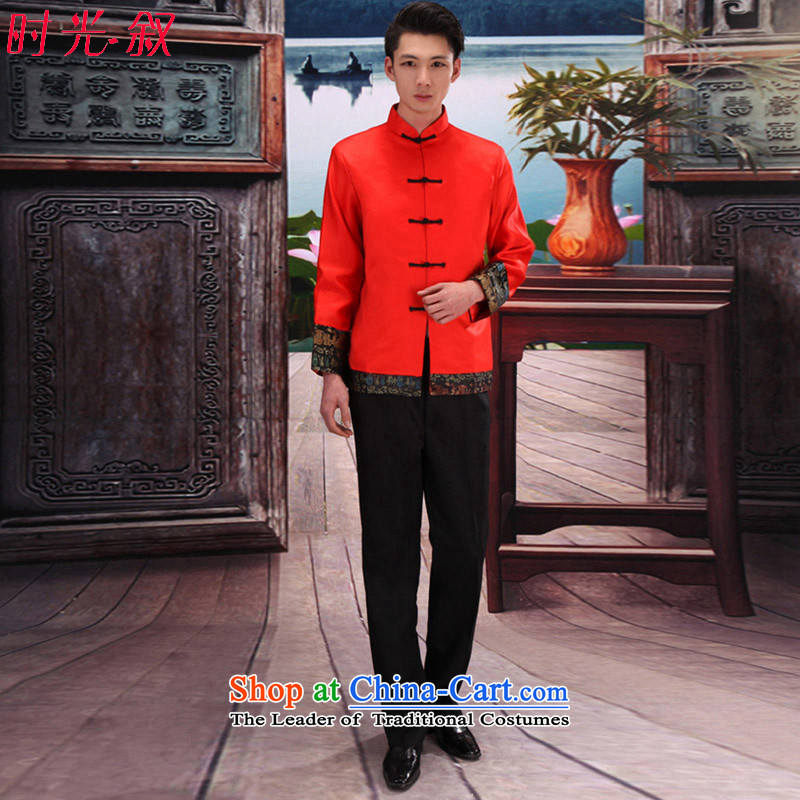 Time the爊ew 2015 Syria groom male Sau Wo serving Chinese wedding dress men improved Tang dynasty costume show replace bows services wo red燬