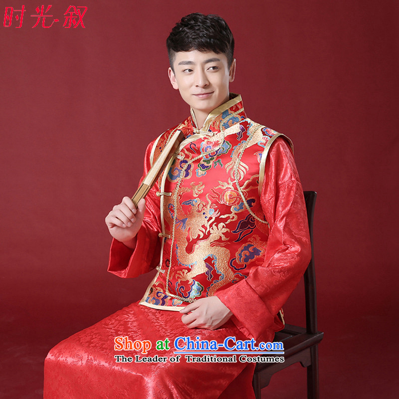 The Syrian Chinese style wedding dresses time men and Tang Dynasty style robes traditional marriage Sau Wo service men costume of the bridegroom clothing bows services red L