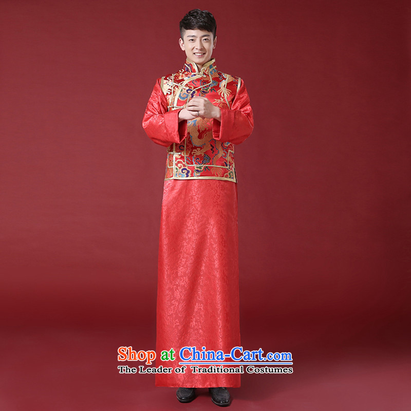 The Syrian Chinese style wedding dresses time men and Tang Dynasty style robes traditional marriage Sau Wo service men costume of the bridegroom clothing bows to red , L, Syria has been pressed time shopping on the Internet