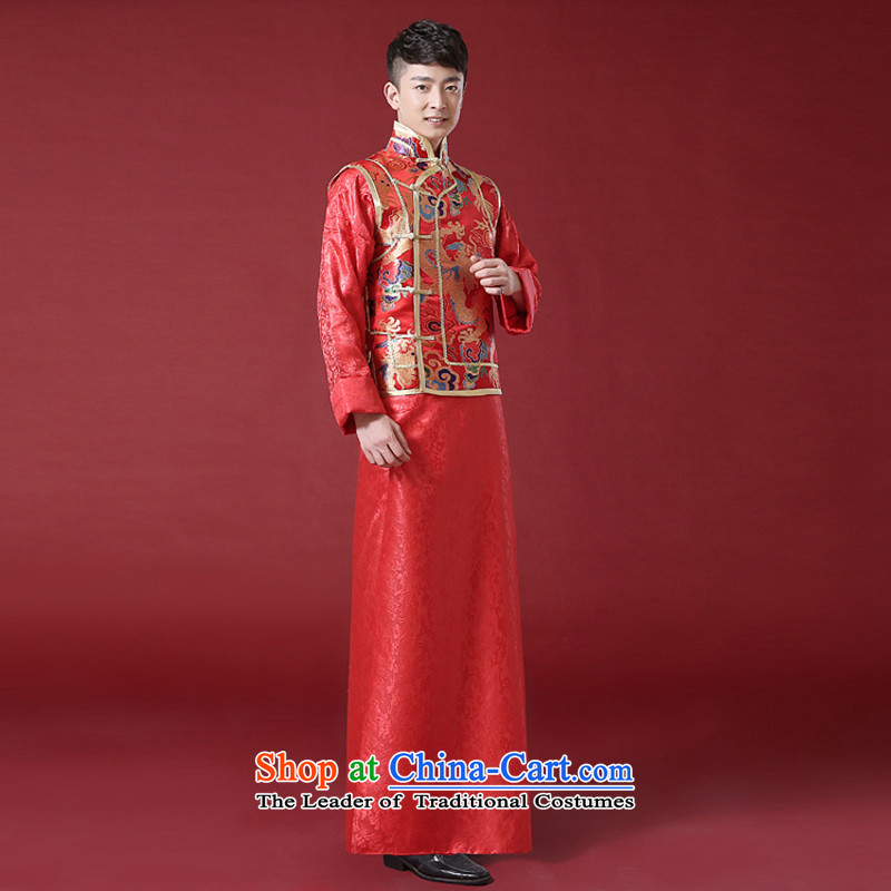 The Syrian Chinese style wedding dresses time men and Tang Dynasty style robes traditional marriage Sau Wo service men costume of the bridegroom clothing bows to red, L, Syria has been pressed time shopping on the Internet