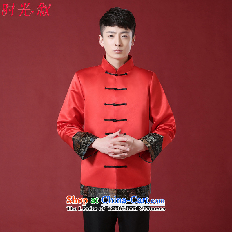 The new Chinese men Soo Wo service pack the bridegroom robe Chinese wedding dress men costume of the bridegroom dress wedding dress RED?M