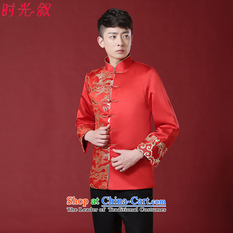 2015 Spring New bridegroom men Soo-Wo Service Chinese wedding dress men Tang Dynasty Chinese tunic costume Sau Wo Red?L