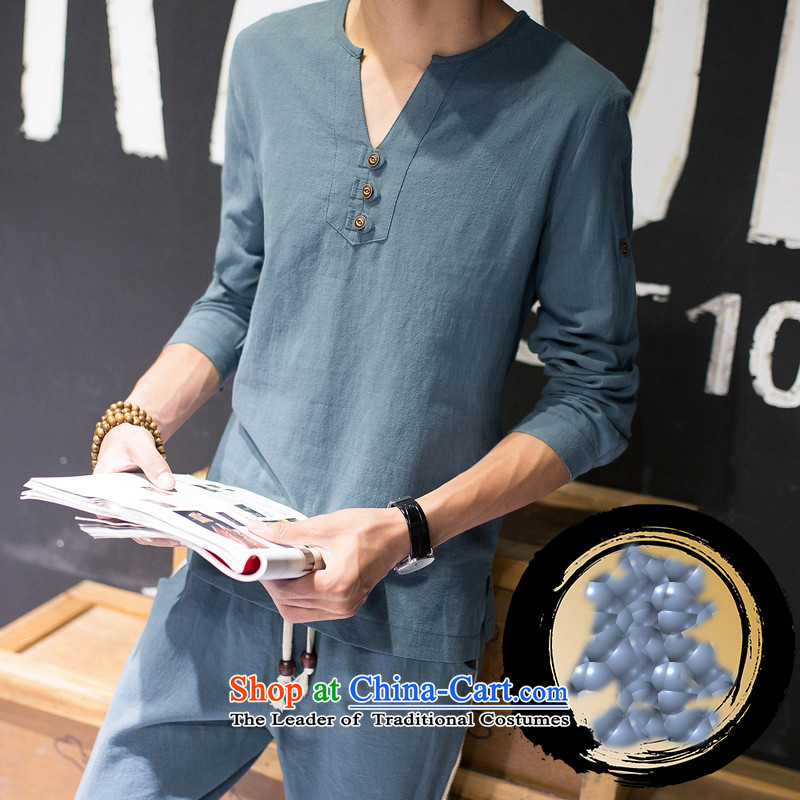 Check the spring and summer of autumn relaxd Low Men's T-shirt China wind retro cotton linen flax V-Neck short pants minimalist long-sleeved Kit Tang Dynasty Chinese tunic聽XXXL, white checkmark Unit 8033 , , , shopping on the Internet