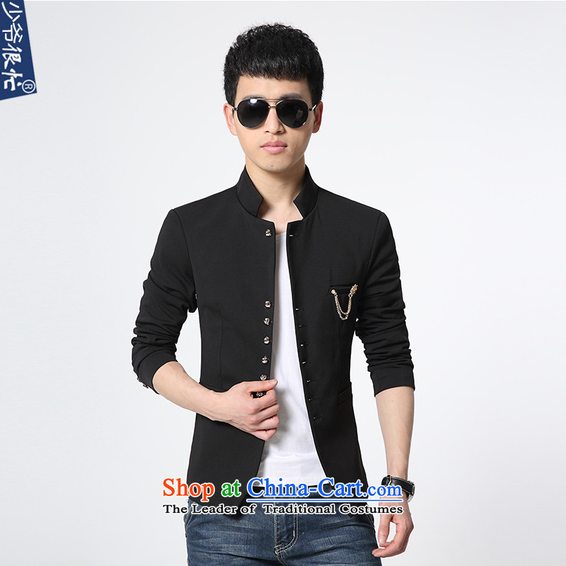 Dan Jie Shi autumn and winter new products Men's Mock-Neck Small Business Suit Sau San Korean Modern Youth Chinese tunic suit coats of pure colors聽black 3XL XF57 male