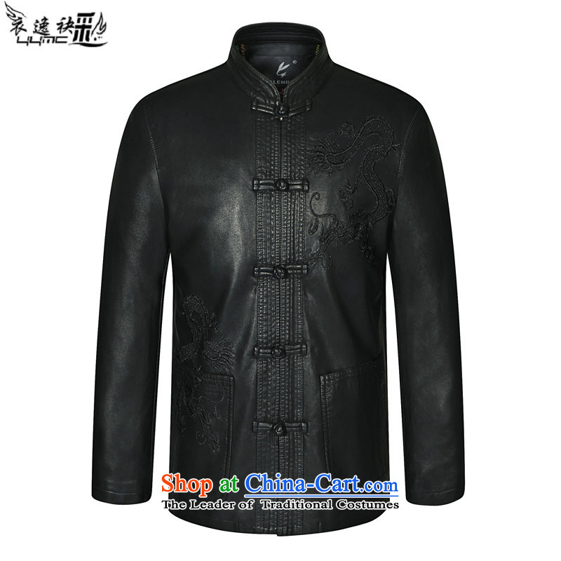Yi Yi area by 2015 autumn and winter multimedia new and old age in Tang Dynasty Zhongshan fitted with long leather jacket embroidered dragon leather jacket disc does not embroidered dragon Clip6474 185