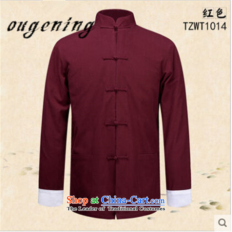 The name of the 2015 autumn of the OSCE New China wind men men Chinese Tang dynasty retro long-sleeved father boxed old folk weave a solid color shirt jacket RED燤 Kung Fu