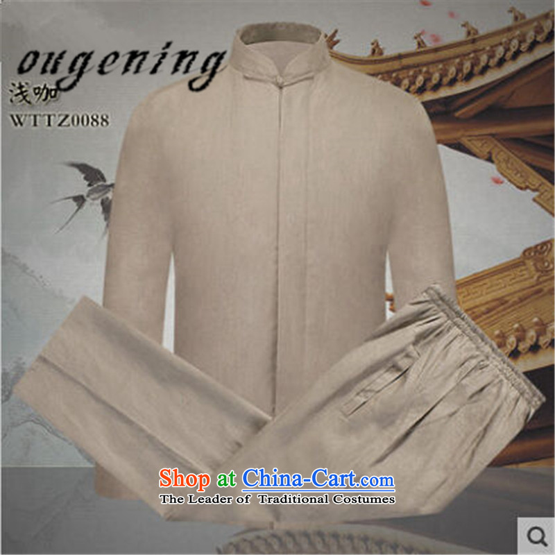 The name of the 2015 autumn of the OSCE New New Product men in Tang Dynasty older father solid color cotton linen coat Chinese leisure retro elastic solid color pants and two Kit Brown?M