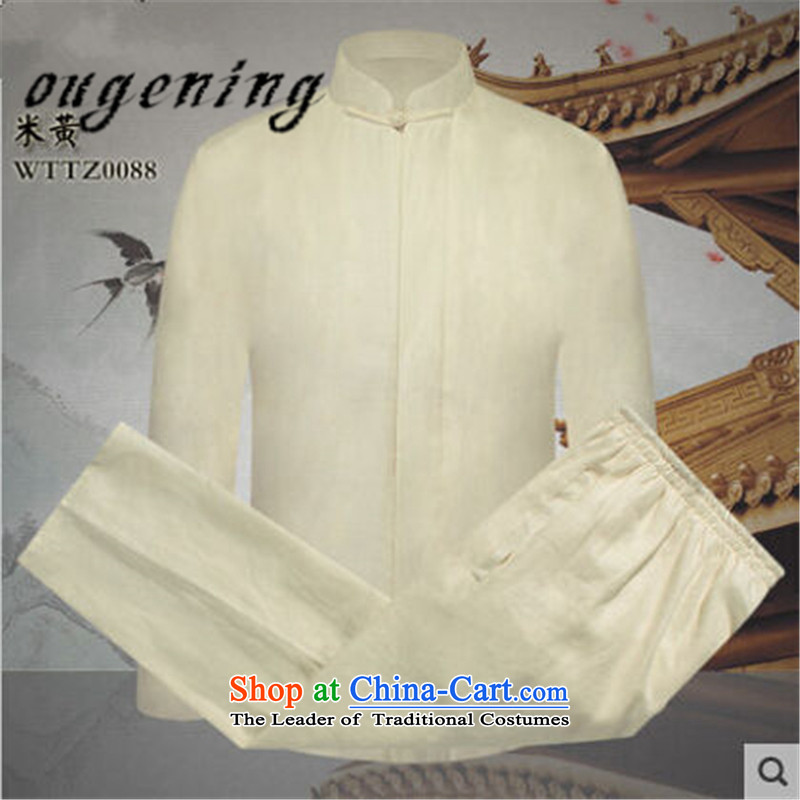The name of the 2015 autumn of the OSCE New New Product men in Tang Dynasty older father solid color cotton linen coat Chinese leisure retro elastic solid color pants and two Kit Brown M, OSCE, lemonade (ougening) , , , shopping on the Internet