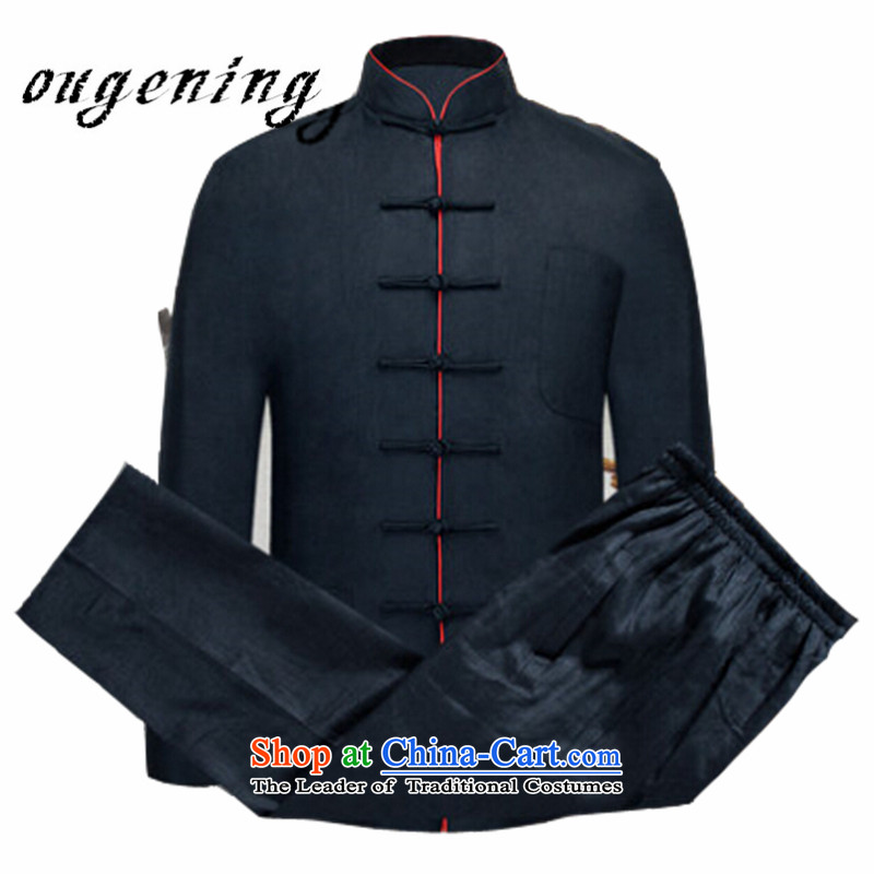 The name of the 2015 autumn of the OSCE New New Product Men Tang dynasty cotton linen men father national costume Chinese elderly in the linen collar retro two kit navy blue XXL