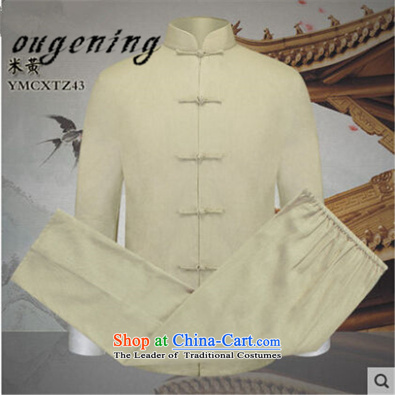 The name of the 2015 autumn of the OSCE new new product in older grandpa cotton linen Tang dynasty new linen men long-sleeved sweater dad relax kit m Yellow?XL