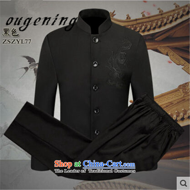 The name of the 2015 autumn of the OSCE New Men, new product lines for autumn and winter by Chinese national wind collar Chinese tunic men of the Republic of Korea Air-dress two kits pack Black?XXL