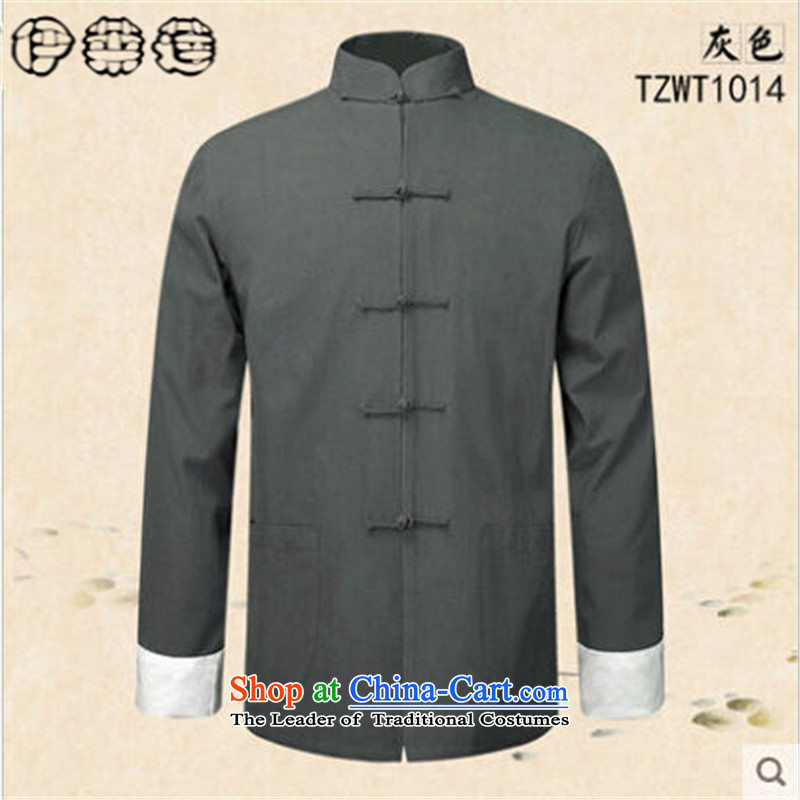 Hirlet Ephraim Fall 2015 New China wind men men Tang Dynasty Chinese long-sleeved father replacing old folk weave kung fu shirt jacket coat Gray聽L