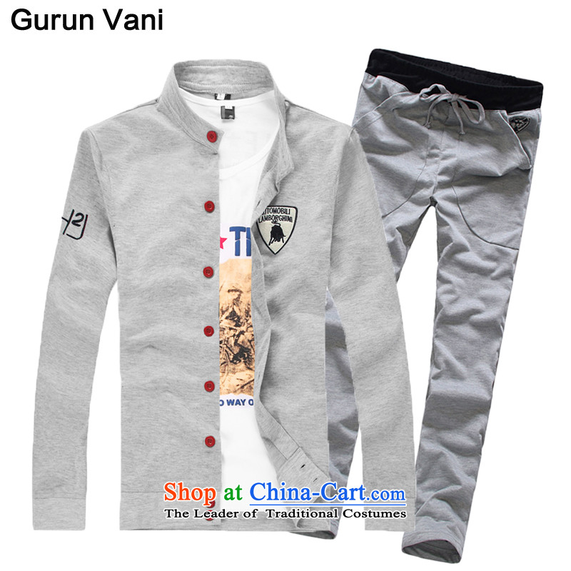燤r Tang Dynasty Chinese tunic gurunvani 2015 Autumn on Men's Mock-Neck Chinese tunic jacket male plus lint-free bulls icon gray燲L