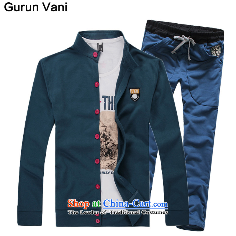 Mrs Shi Tang Dynasty Chinese tunic Carter Summer 2015 Autumn on Men's Mock-Neck Chinese tunic suit male sun icon blue velvet聽L