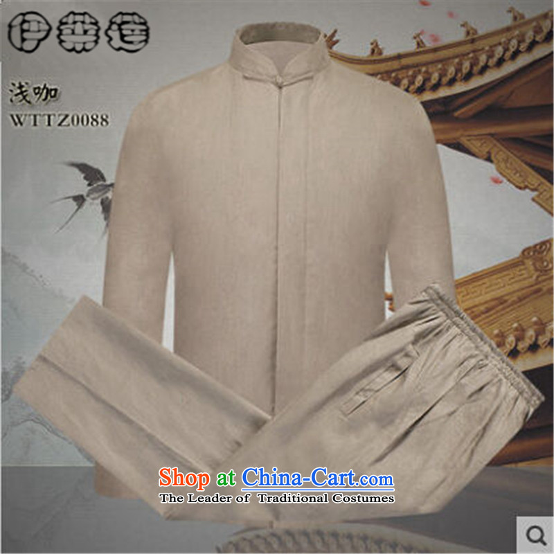 Hirlet Ephraim 2015 Autumn In New older men Tang Dynasty Package China wind Chinese long-sleeved Tang dynasty father replace ethnic kung fu shirt jogging kit light coffee-colored燤