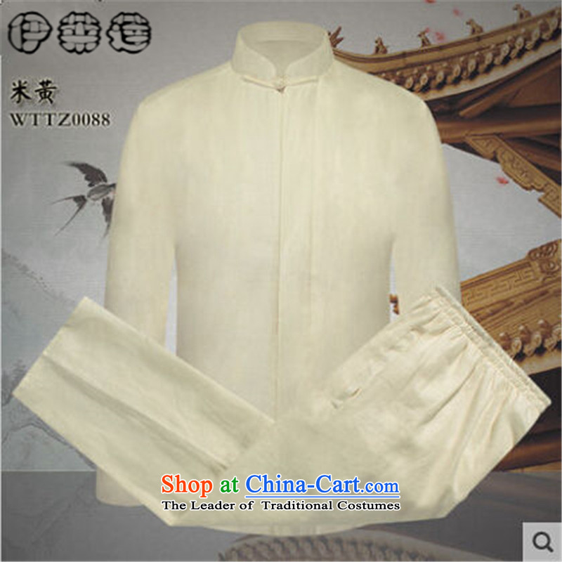 Hirlet Ephraim 2015 Autumn In New older men Tang Dynasty Package China wind Chinese long-sleeved Tang dynasty father replace ethnic kung fu shirt jogging kit light coffee-colored聽M Yele Ephraim ILELIN () , , , shopping on the Internet