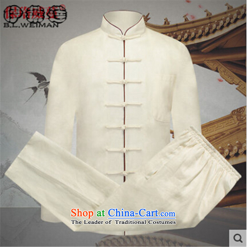 Hirlet Ephraim 2015 Autumn In New Tang Dynasty Chinese father older replace l shirts/blouses men detained disc Tang Dynasty Package cornhusk yellow?M