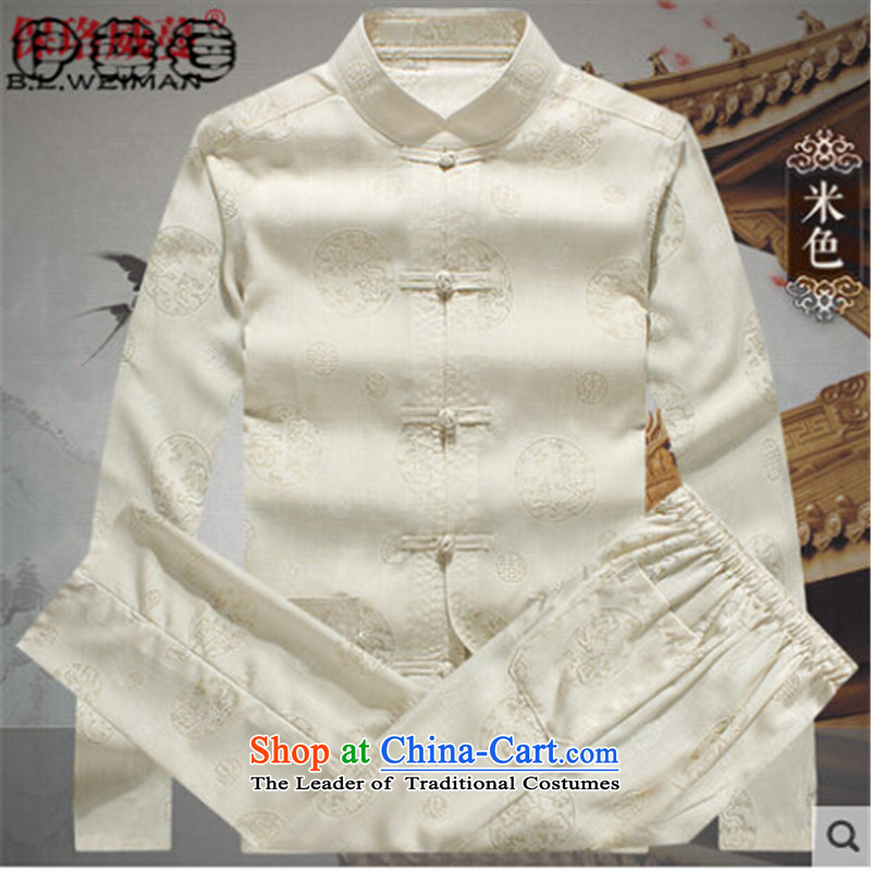 Hirlet Ephraim 2015 Autumn In New older men Tang dynasty long-sleeved father Mount Kit replacing Tang Dynasty Chinese men of older persons in the loaded Kung Fu Tang shirt grandpa boxed kit beige 180