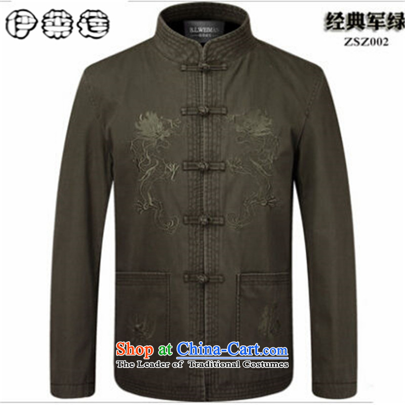 Hirlet Ephraim Fall 2015 New Tang dynasty of older people in the long-sleeved shirt men men Tang Jacket coat grandpa replacing father blouses Army Green聽190