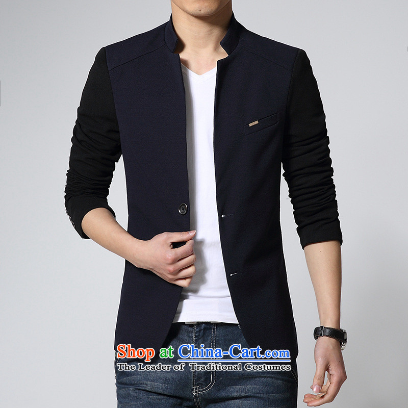 In spring and autumn 2015 new jacket, Korean men casual dress pants Sau San-collar Chinese tunic male and Gray�2XL