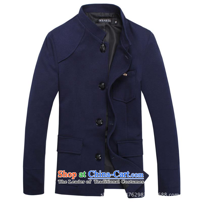The new Korean version of the spring and autumn Men's Mock-Neck Sau San casual jacket Chinese tunic men trend navy聽L