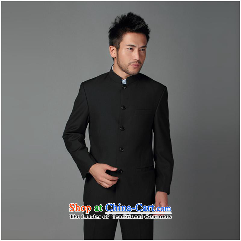 The Chinese stand collar black navy blue collar Chinese tunic suit male suits men suits for the Sau San navy blue collar?180XL/50 China