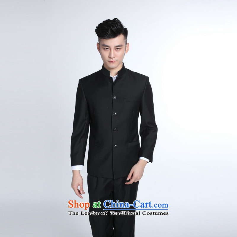 Men's Mock-Neck Chinese tunic suit Chinese collar Korean suit the bridegroom wedding dress stylish Sau San Kit Chinese navy blue collar suit + 190/54XXXL trousers