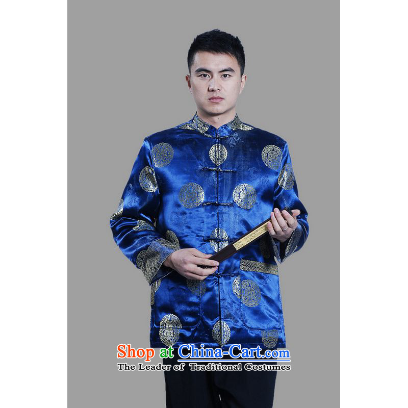 Ms Au King Mansion to men's jackets thick cotton plus add-Tang Tang replacing men long-sleeved sweater Chinese Dragon Tang blouses聽-C on cyan聽XXL