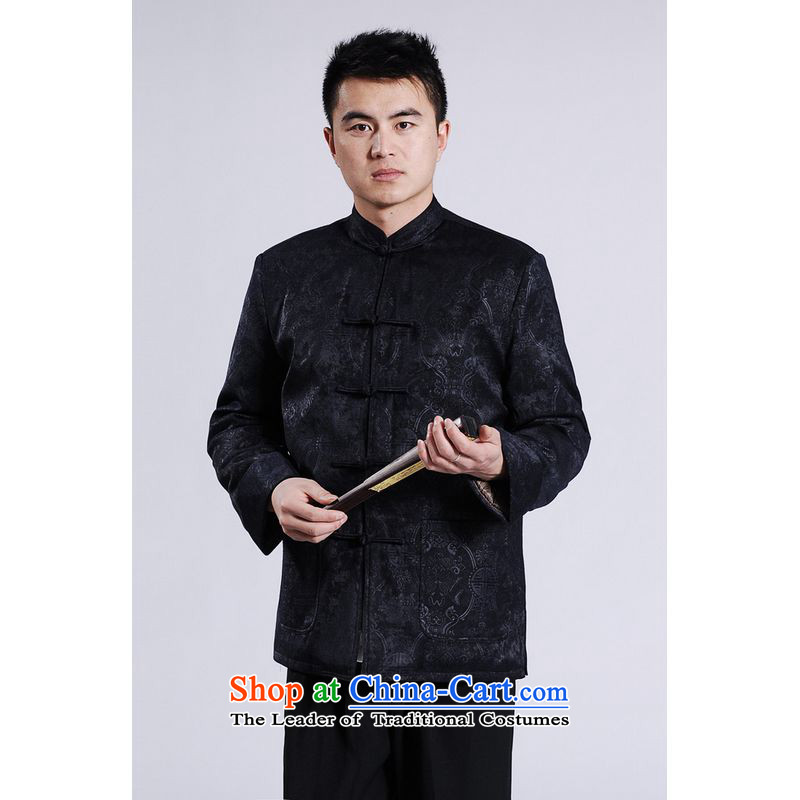 Ms Au King Mansion to men's jackets thick cotton plus add-Tang Tang replacing men long-sleeved sweater Chinese Dragon Tang blouses聽-A black聽XXL