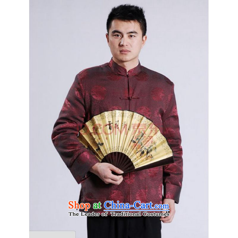 Ms Au King Mansion to men's jackets thick cotton plus add-Tang Tang replacing men long-sleeved sweater Chinese Dragon Tang blouses wine red聽M