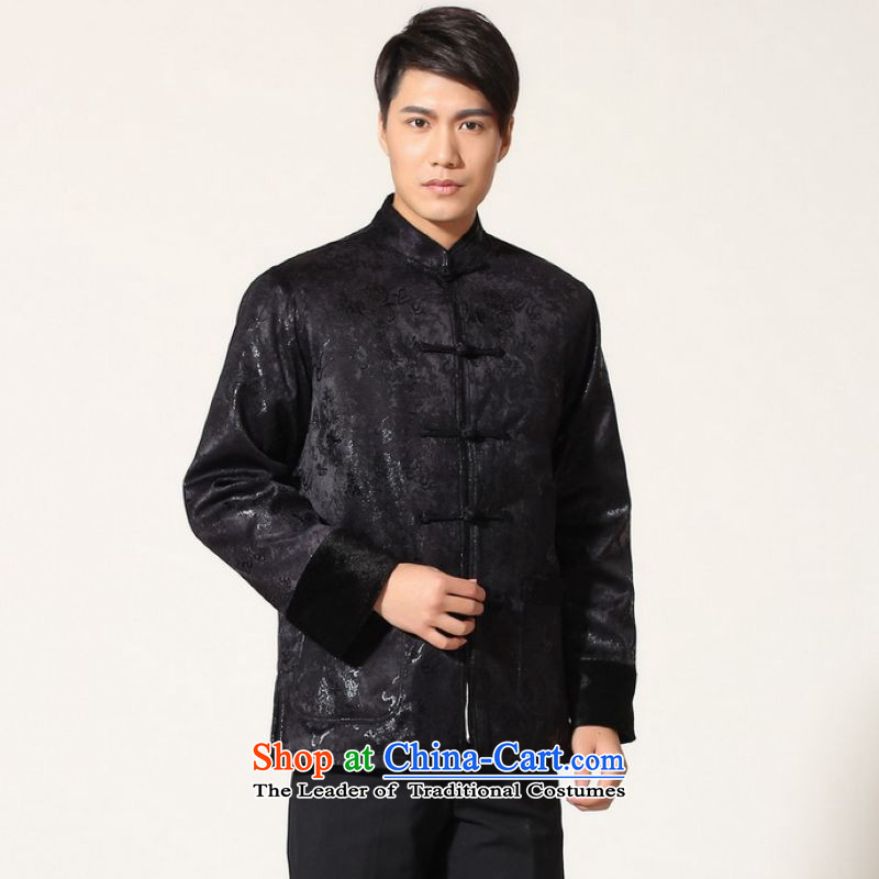 Ms Au King Mansion to men's jacket water Sable Hair Tang Add Tang dynasty lint-free men long-sleeved sweater Chinese Dragon Tang blouses -B Black L