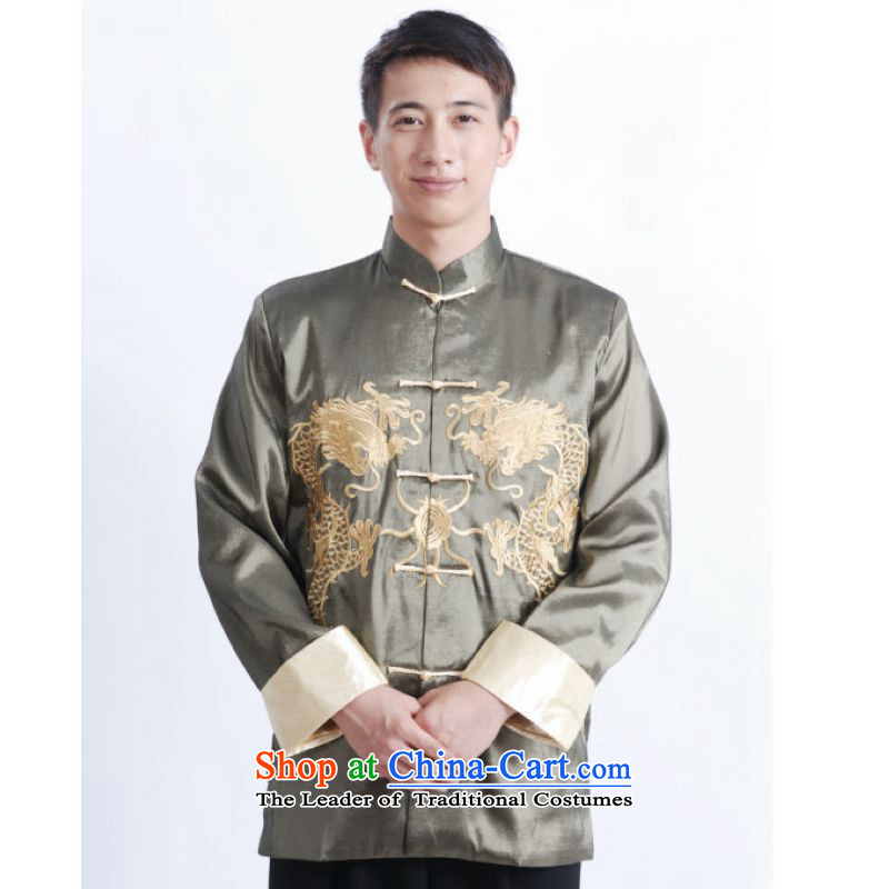 Ms Au King Mansion to Tang dynasty men long-sleeved national costumes men Tang jackets collar embroidery Chinese dragon�M1012�XXXL light green