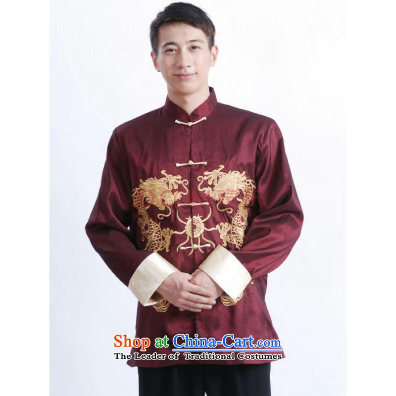 Shanghai, optimization options Tang Dynasty Men long-sleeved national costumes men Tang jackets collar embroidery Chinese dragon聽M1013 wine red聽XL