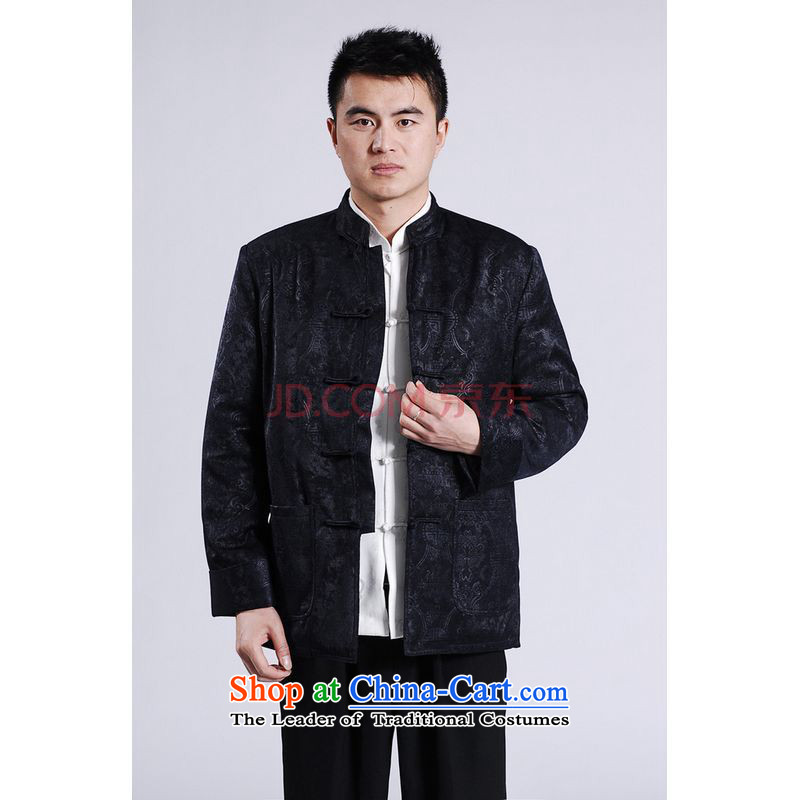 Shanghai, optimize ipo men's jackets thick cotton plus add-Tang Tang replacing men long-sleeved sweater Chinese Dragon Tang blouses -A black L